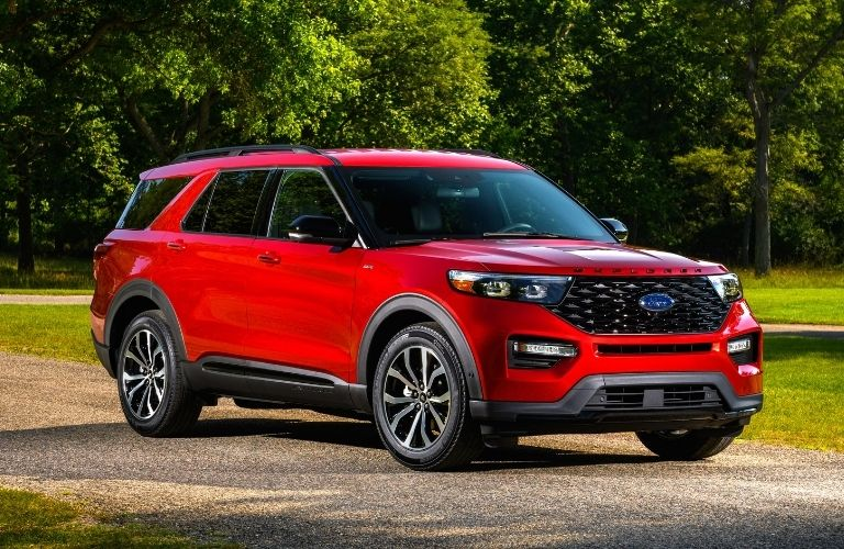 2022 Ford Explorer ST line in cherry red color