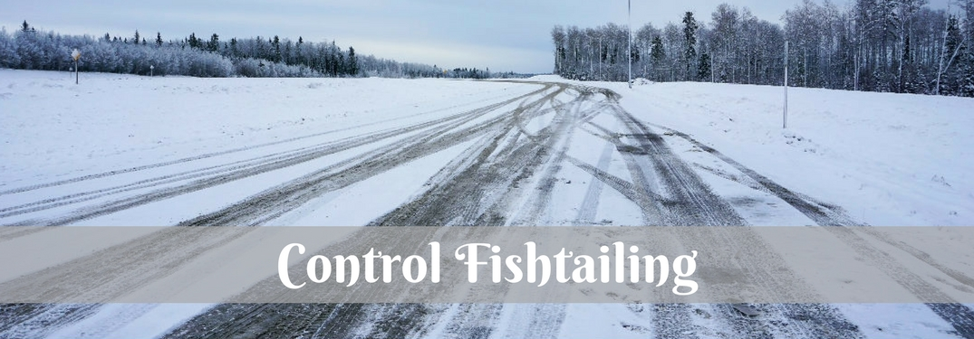 snow-covered road with slippery tire tracks and the words control fishtailing overlaid