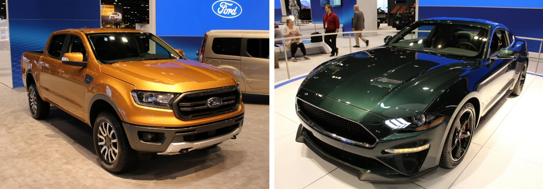 2019 Ford Ranger and 2019 Ford Mustang Bullitt displayed at the 2018 Chicago Auto Show