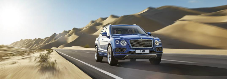 blue 2017 Bentley Bentayga front side view