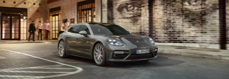 gray Porsche Panamera Turbo front side view