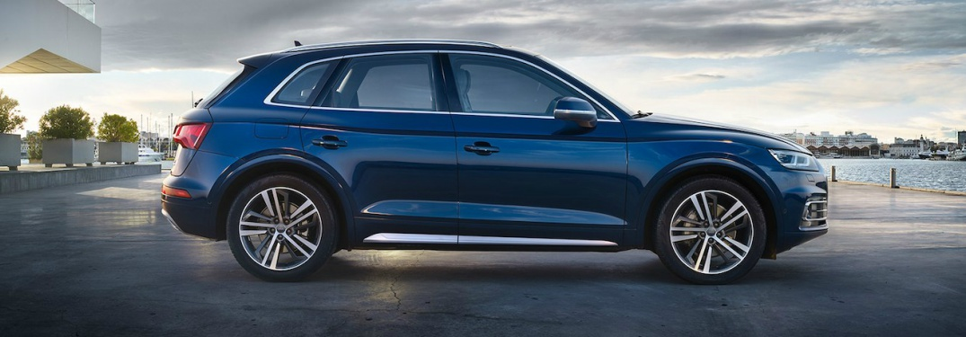 blue Audi Q5 side view