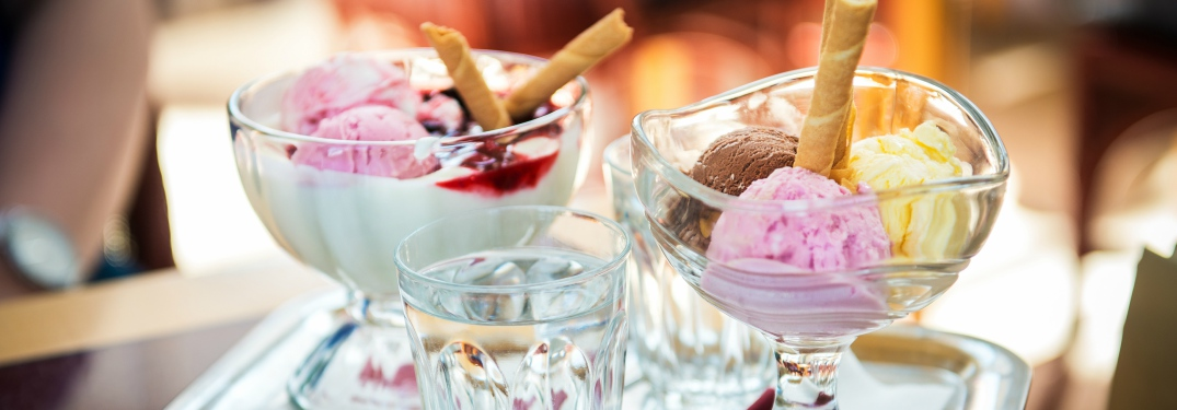 two ice cream dishes