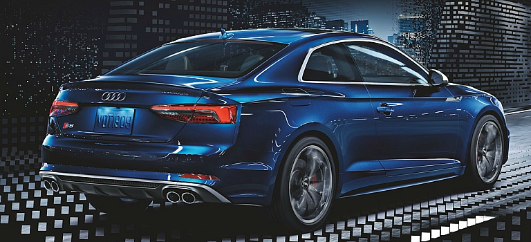 2018 Audi S5 Coupe blue back side view