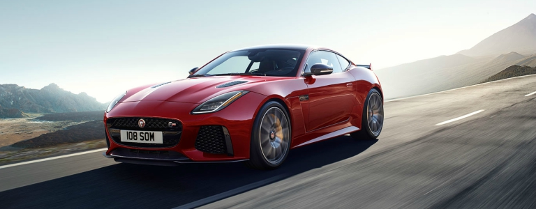 2018 Jaguar F-TYPE SR red front side view in motion