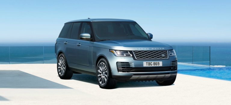 2018 Land Rover Range Rover light blue side view