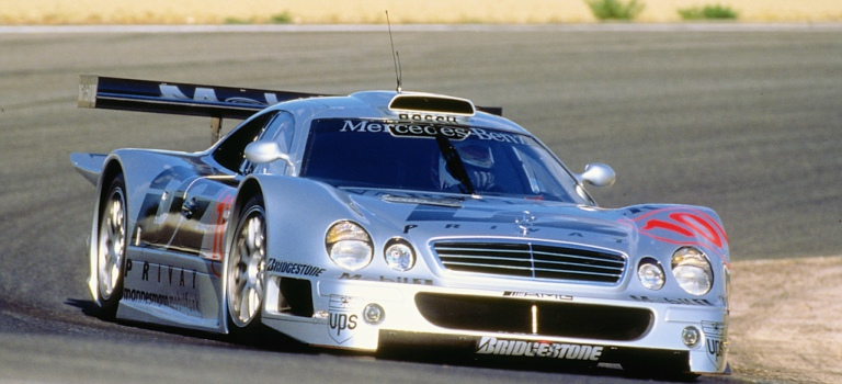 1997 Mercedes-AMG CLK-GTR on a track