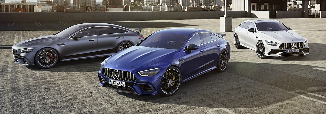 2018 Mercedes-Benz AMG lineup with gray blue and white models