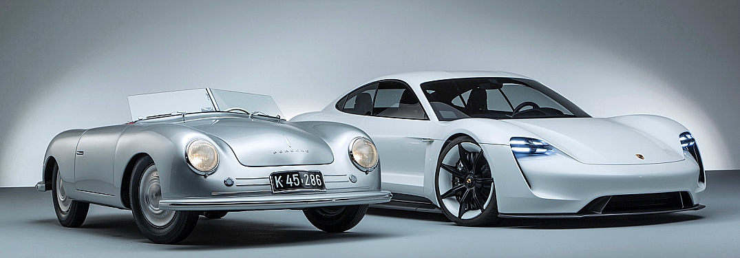 1948 Porsche 356 roadster next to the Porsche Mission E Concept