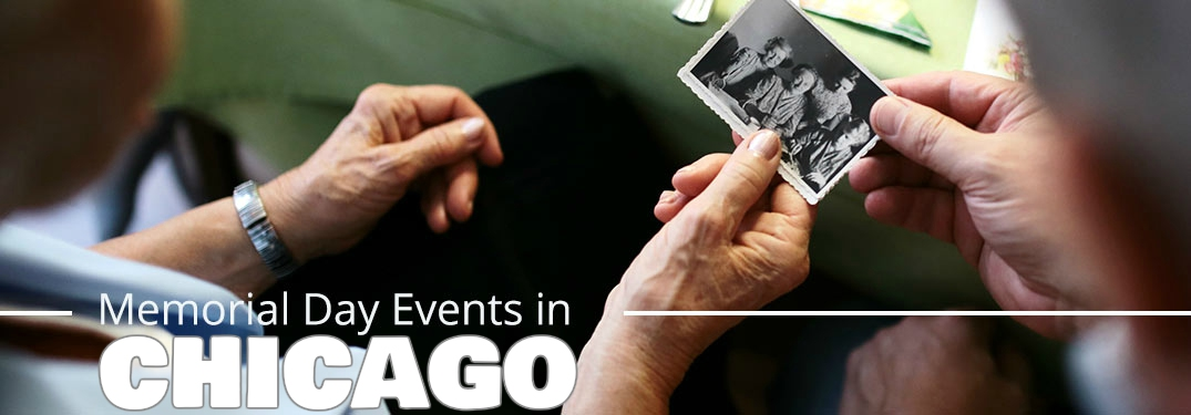 Memorial Day events in Chicago with an old photograph being passed between hands