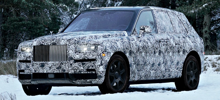 Rolls-Royce Cullinan in press paint front side view