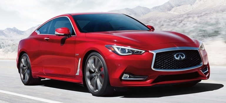 2018 INFINITI Q60 red front view