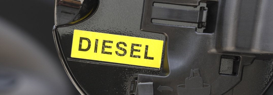 Diesel sticker on the inside of a fuel door