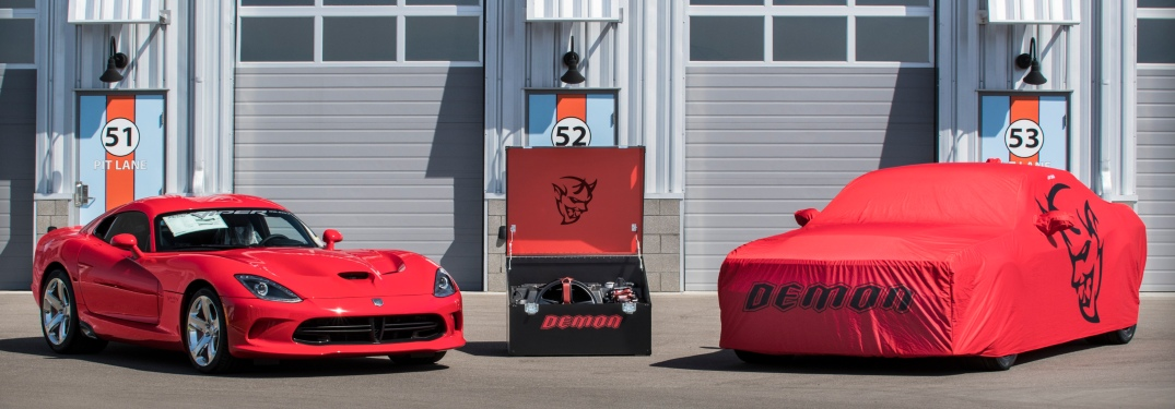 The last Dodge Viper and Challenger Demon front view