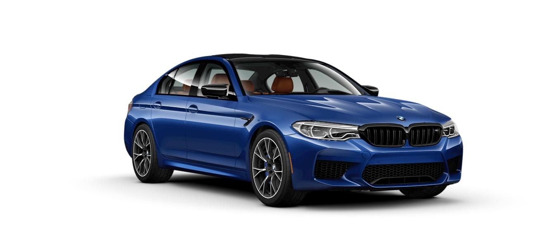 2019 BMW M5 blue side view