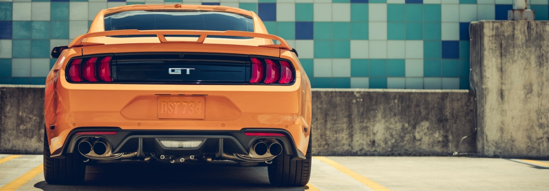2019 Ford Mustang orange back view