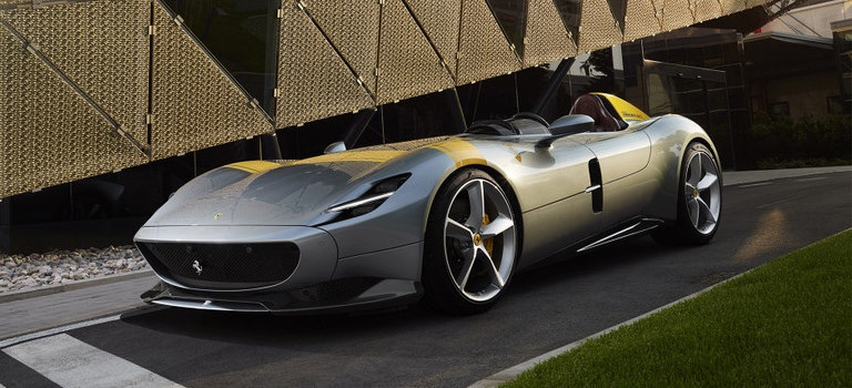 2019 Ferrari Monza SP1 gray and yellow side view