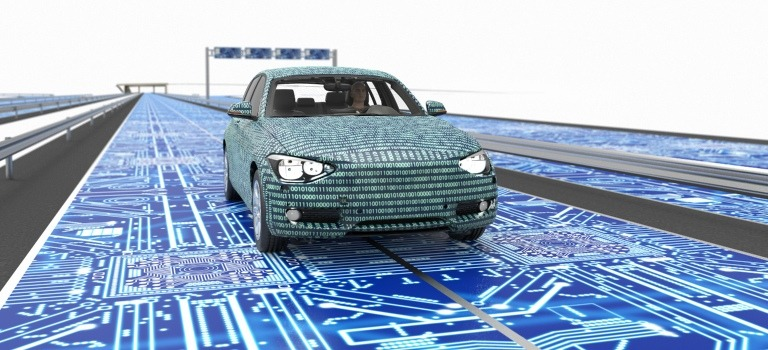 Generic car surrounded by stylized circuitry