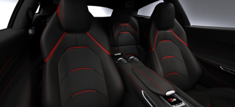 Ferrari GTC4Lusso front and back seats black and red