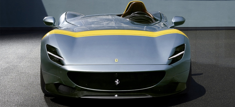 Ferrari Monza SP1 silver and yellow front view