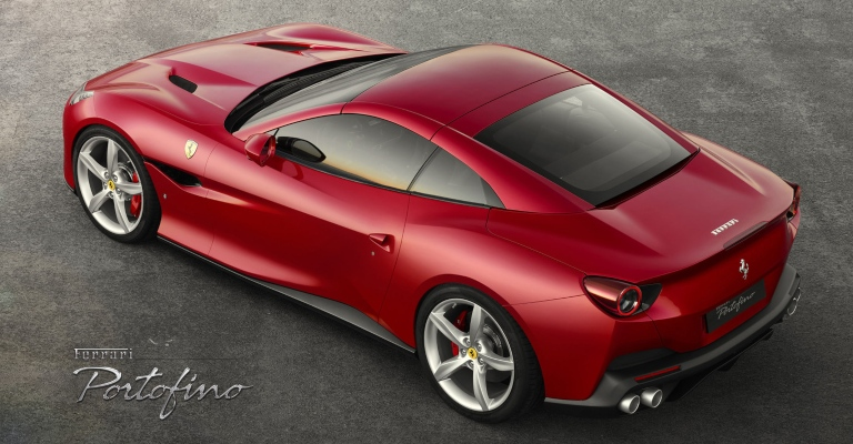Ferrari Portofino red back top view