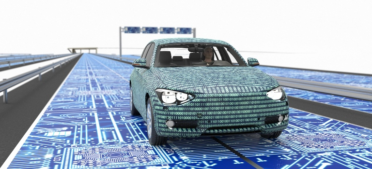 car covered in 1s and 0s driving on a circuit board road