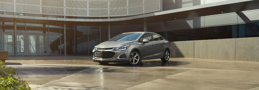 front and side view of silver 2019 chevrolet cruze