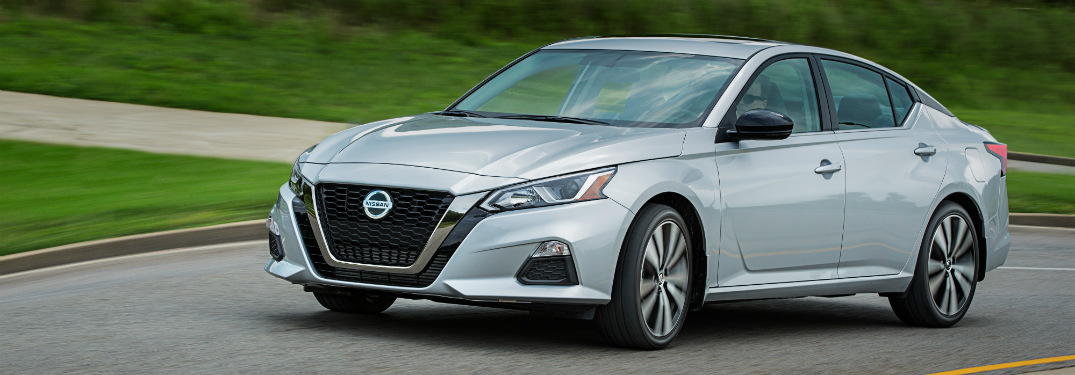 front and side view of silver 2019 nissan altima