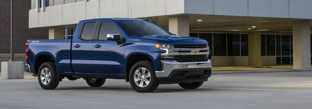 front and side view of blue 2019 chevy silverado 1500