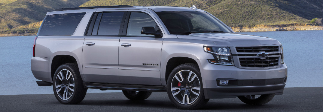 front and side view of silver 2019 chevy suburban