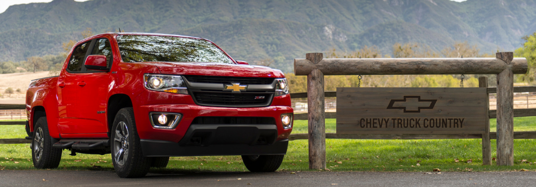 front and side view of red 2019 chevy colorado