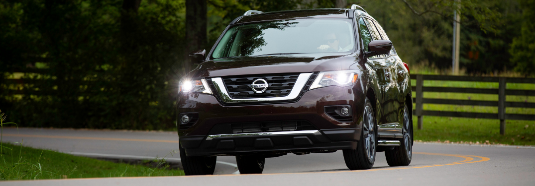 front view of maroon 2019 nissan pathfinder