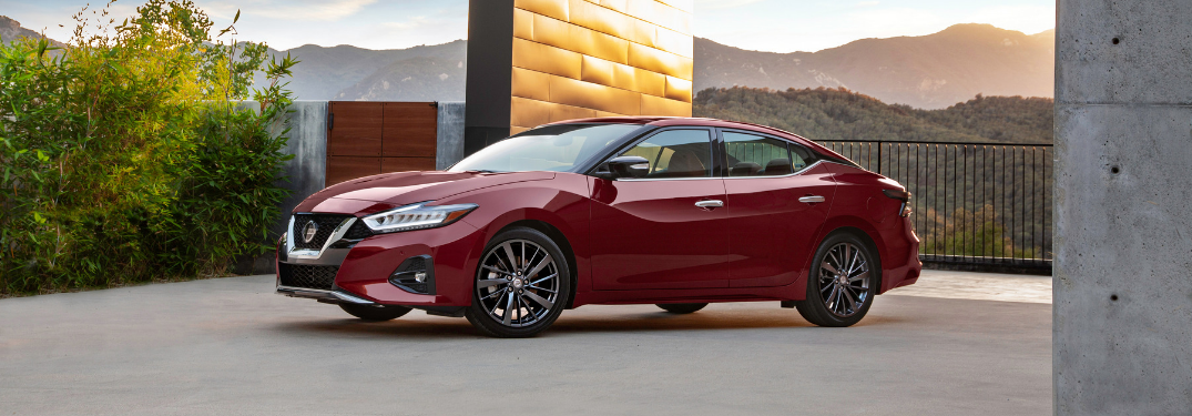 front and side view of red 2019 nissan maxima