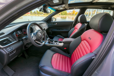 front interior of 2019 kia optima with available european-style sport leather seating