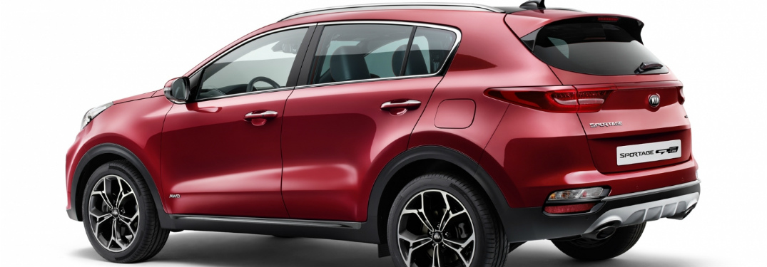 rear and side view of red 2019 kia sportage against white background