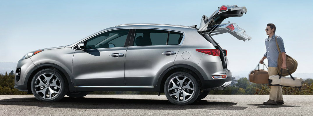 Stylized image of rear liftgate operation for 2019 Kia Sportage