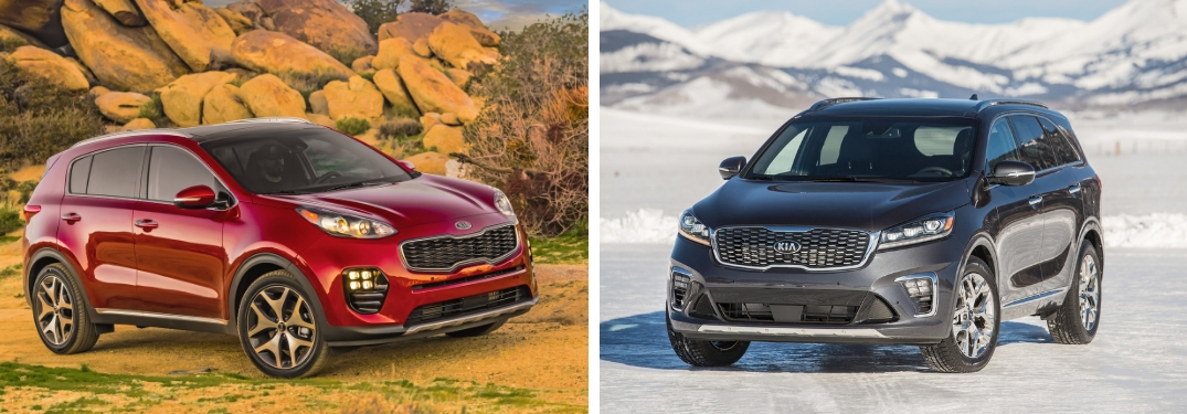 2019 Kia Sportage and 2019 Kia Sorento side-by-side views of exteriors