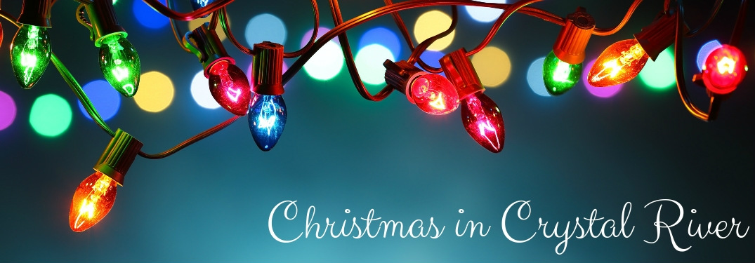 Christmas lights with Christmas in Crystal River text