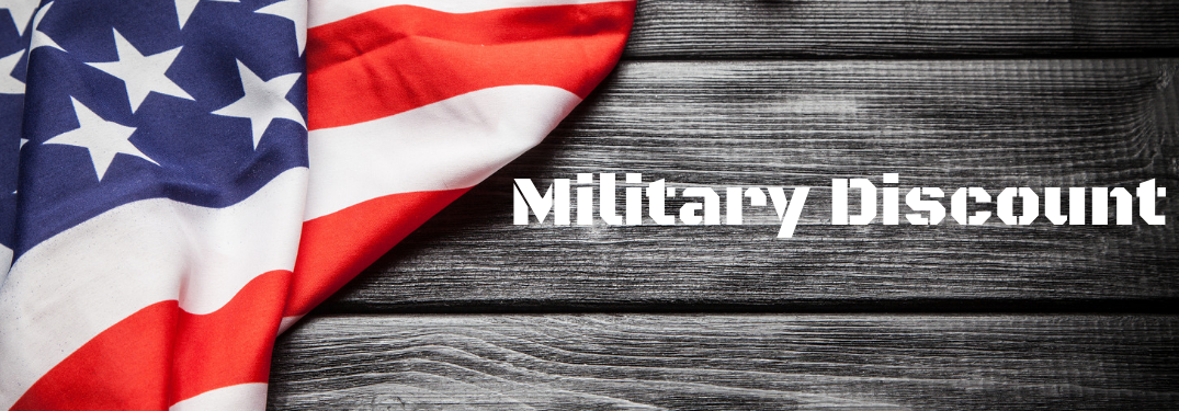 Military Discount on a flag and wooden board background