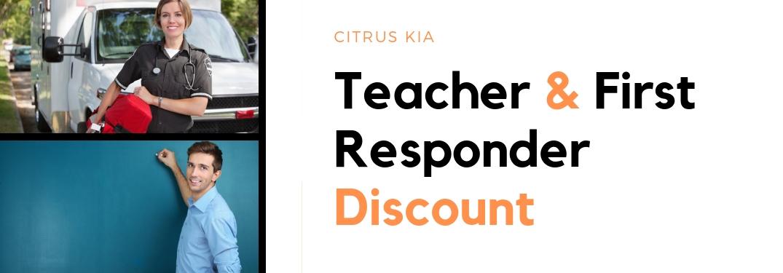 Teacher and first responder beside Citrus Kia Teacher and First Responder Discount text