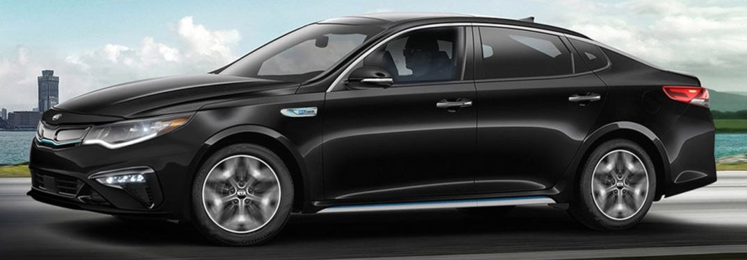 Side view of a black 2020 Kia Optima Hybrid
