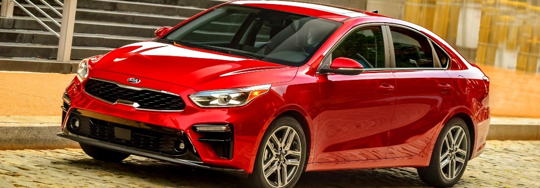 Side view of a red 2019 Kia Forte