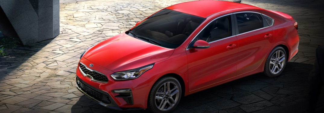 Overhead view of a red 2020 Kia Forte
