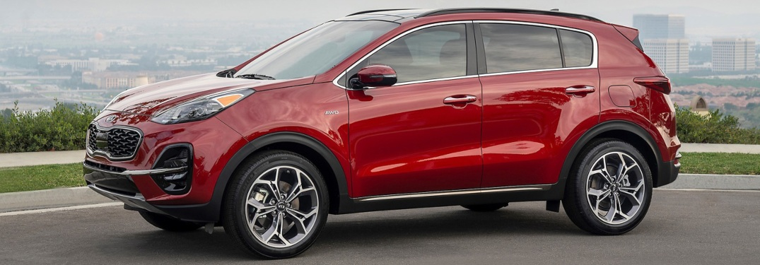 Side view of a red 2020 Kia Sportage