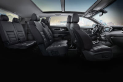 2020 Kia Sorento interior side view of front second and third row seats