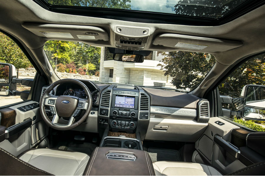 Interior Of 2018 Ford Super Duty Driving On Forest Road