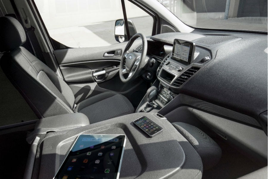 Folded Front Seat With Ipad And Iphone In 2019 Ford Transit Connect Cargo  Van With Wireless