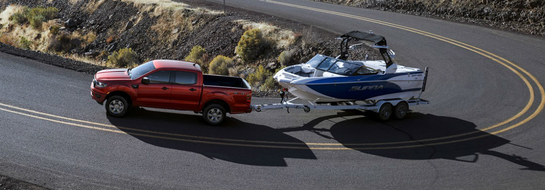 2019 ford ranger xlt towing a boat