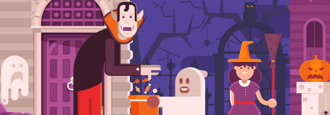 cartoon of children trick or treating at castle dracula