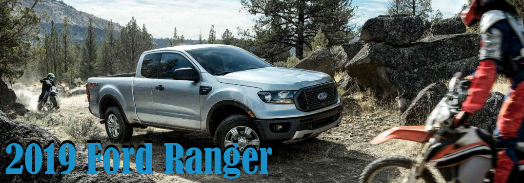 2019 Ford Ranger Expected Capabilities with image of truck between two dirt bikers